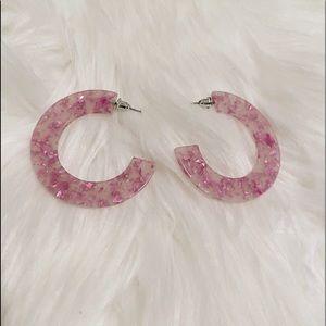 NEW PINK Speckled Clear Big Hoop Earrings
